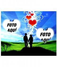 Marco online con dos corazones y de fondo una pareja