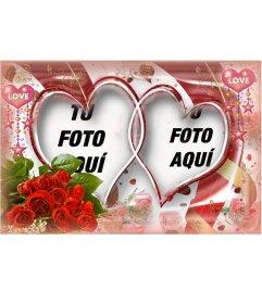 Marco fotográfico muy elaborado con rosas y corazones.
