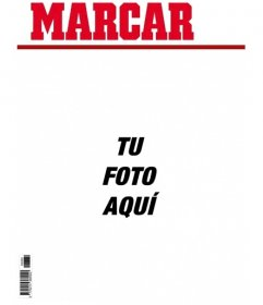 Portada personalizable de broma del periódico Marca. Añade tu foto a la primera página del periódico Marcar y añade si quieres un texto como pie de página.