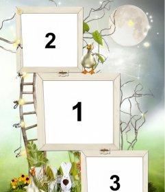 Marco para 3 fotos con decoración de 2 patitos, un conejo y una escalera que parece subir hasta la luna