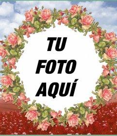 Marco de fotos con una ilustración de flores rosas para tus fotografías