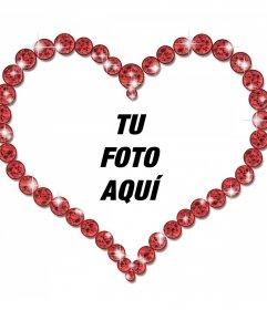 Marco para fotos en forma de corazón y con diamantes brillantes