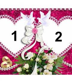 Marco de fotos con dos corazones para San Valentín