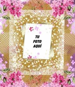 marco con muchas flores para decorar tus fotos online fotoefectos