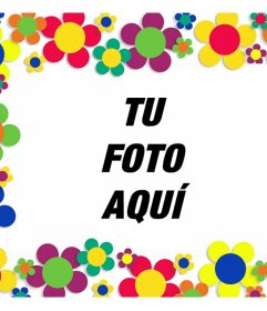 Marco con muchas flores de colores para adornar tus imágenes