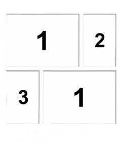 Marco de fotos blanco para colocar cuatro fotografías y crear un collage añadiendo también un texto online