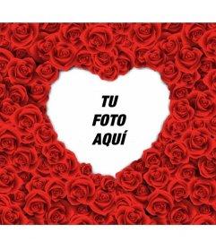Marco de fotos con forma de corazón lleno de rosas rojas para tus fotos románticas de amor.