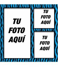 Marco de fotos azul y negro con estampado animal y tres zonas donde colocar imágenes y crear un collage.