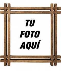 Marco para fotos con bordes de madera, para personalizar con tu foto.