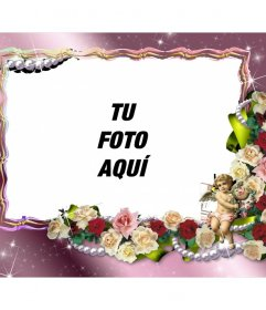 Marco de fotos para personalizar con flores y un ángel