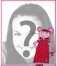 Marco para fotos de ratita presumida para poner la foto de un niño de fondo