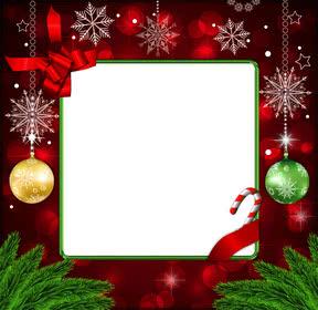 Marco para fotos navideño de color rojo con decoraciones de copos de nieve dorados y bolas de navidad
