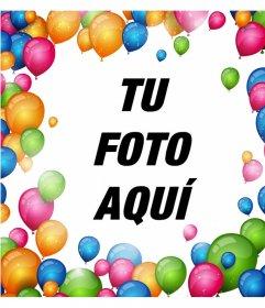 Marco para rodear tus fotos con muchos globos de colores y decorarlas