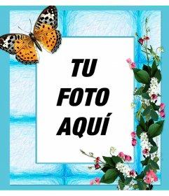 Marco para tus fotos con flores y una gran mariposa sobre fondo azul