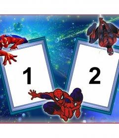 Marco de dos fotos con Spiderman y su telaraña