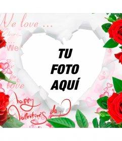 Marco romántico con rosas y un corazón para insertar tus fotos.