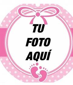 Marco circular color rosa para decorar la foto de una niña bebe