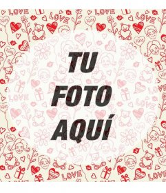 Marco de fotos romántico con dibujos de corazones y ositos en mosaico con el centro semitransparente.