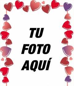 Marco para fotos de corazones rojos y rosas para San Valentín donde puedes poner la foto con tu persona Amada