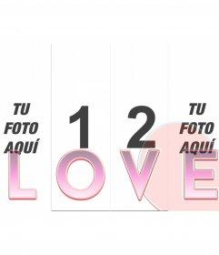 Marco para hacer tus montajes con 4 fotos con la palabra LOVE en transparente