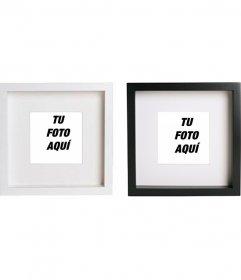 Crea collage online con 2 marcos de fotos en blanco y negro cuadrados para poner tus imágenes y añadirles un texto