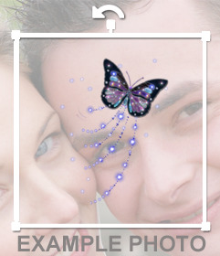 Mariposa con purpurina para pegar en tus fotos online