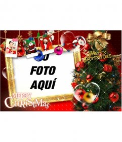 Preciosa postal de Navidad, con motivos navideños, regalos, fotografías de Santa Claus y regalos. Pare felicitaciones de Navidad con tu foto.