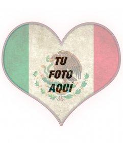 Fotomontaje en forma de corazón con la bandera de México