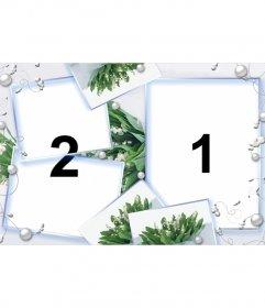 Marco para dos fotos con fondo de flores verdes y perlas