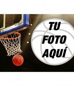 Collage con una canasta y una pelota de baloncesto