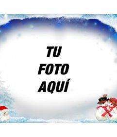 Marco de fotos nevado para felicitar las navidades con muñecos de nieve