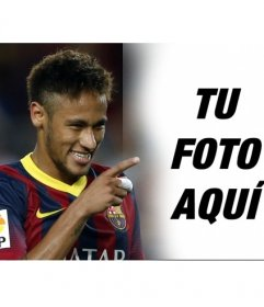 Fotomontaje con Neymar Jr. apuntando con el dedo y sonriendo a la fotografía que subas