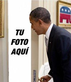 Fotomontaje de Barack Obama en el que aparece tu foto detrás de la puerta que está abriendo