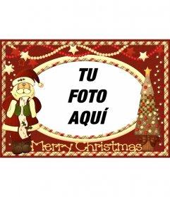 Tarjeta vintage de Navidad con Santa Claus para poner tu imagen