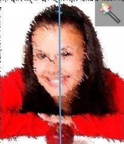 Juega con tu fotografía y este filtro para imágenes efecto pintura al óleo. Podrás arrastrar el color de tu foto con un pincel más o menos fino, dándole una apariencia curiosa.
