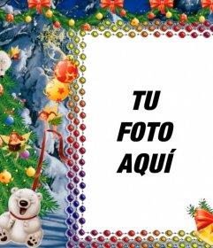 Pon tu foto en este marco de Navidad con ositos panda