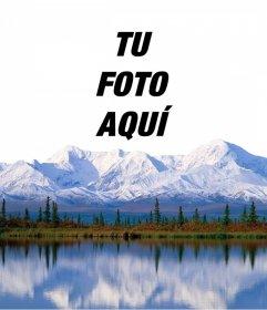 Añade tu foto encima de unas montañas de nieve con este montaje online