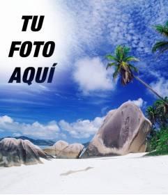 Fotomontaje para realizar un collage con tu foto y el cielo de esta isla paradisiaca.
