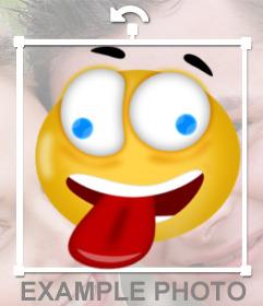 Sticker para fotos de smiley loco sacando la lengua