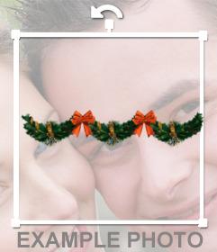 Decoración para tus fotos con guirnaldas de navidad, con lazos rojos y campanas