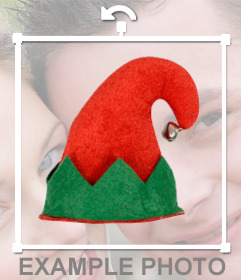 Gorro para poner en tus fotos, de elfo rojo y verde con cascabel .