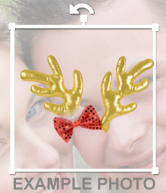 Cuernos para poner en foto de reno dorado y lacito rojo - Colocar fotos en pared ...