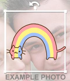 Pegatina de un gato con los colores del arcoíris