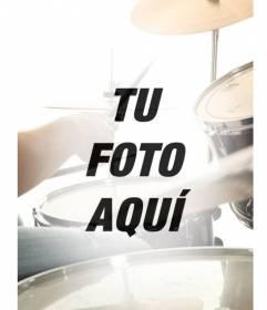 Collage con una batería de música semitransparente que se funde con una fotografía tuya