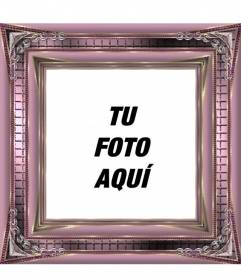 Marco para fotos digitales rosa metalizado con adornos - Marcos de fotos grandes ...