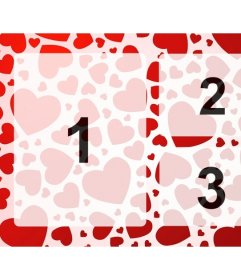 Marco de fotos para 3 imágenes con diseño de corazones rojos donde subir las fotos online y crear los collages de amor que quieras