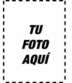 Marco blanco y negro para añadir a tus fotos o retratos en vertical y personalizar con un texto online