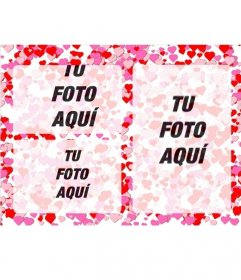 Marco De Fotos Para 3 Fotos De Amor Con Peque 241 Os Corazones