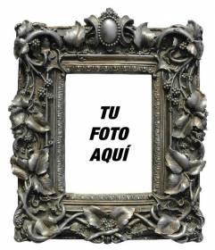 Marco para fotografía gris con florituras en el que puedes poner tu foto de fondo online