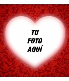 Tarjeta romántica con un corazón para poner tu foto con un marco rojo y añadir texto